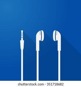 music icon headset earphone headphone flat shadow