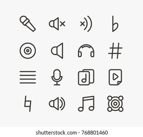 Music icon line set with sound off, mute and webcam. Set of sharp music symbol related music icon line vector elements for web mobile logo UI design. Editable music icon set.