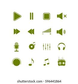 Music icon. Multimedia icons