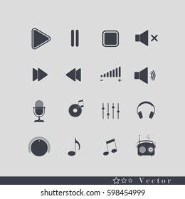 Music icon. Multimedia icons