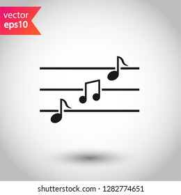 Music icon. Music note sign. EPS 10 flat symbol