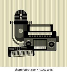 Music icon. Retro concept. Flat illustration