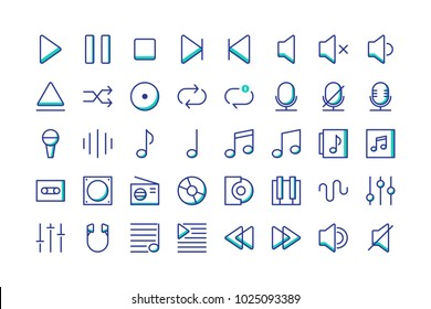 Music icon set collection vector isolated, suitable for your musical content