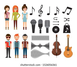 Music icon set design, Digital melody composition technology communication internet and electronic theme Vector illustration