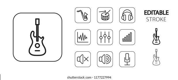 Music icon set. Musical instruments and equipment. Simple outline web application icons. Editable stroke. Vector illustration.