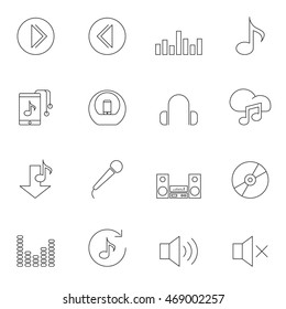 Music icon set outline vector contour isolated on white background