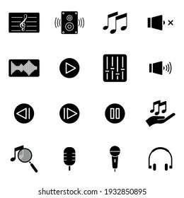 Music icon set. simple illustration. mobile concept app icon and web design. Editable stroke. Design template vector