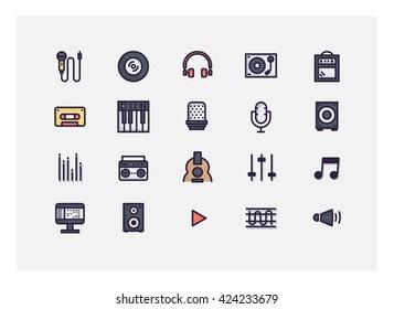 music icon set vector.