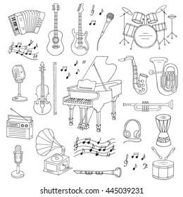 Music icon set vector illustrations hand drawn doodle. Musical instruments and symbols piano, guitar, drum set, gramophone, microphone, violin, trumpet, accordion, radio, saxophone, headphones.