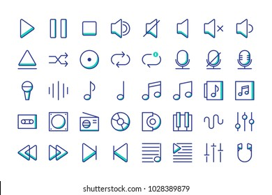 Music icon set vector isolated collection, suitable for your musical content