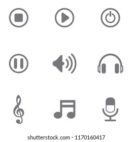music icon set vector template