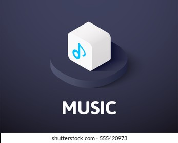 Music icon, vector symbol in flat isometric style isolated on color background