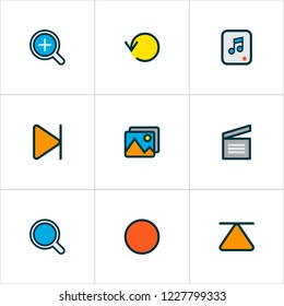 Music icons colored line set with search, top, replay and other eject elements. Isolated vector illustration music icons.