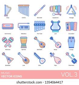Music icons including harp, chime, recorder, xylophone, triangle, harmonic, melodica, pan flute, lyre, accordion, maracas, djembe, mandolin, banjo, conga, balalaika, lute, sitar, pipa, shamisen.