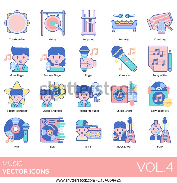 Music Icons Including Tambourine Gong Angklung Stock Vector