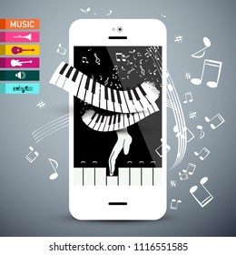 Music Icons with Keyboard. Vector App on Cellphone. Musical Notes with Mobile Phone Application.