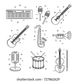 Music icons, line art set, instrument vector design, drums, guitar, saxophone and keyboard