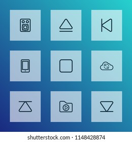Music icons line style set with smartphone, arrow down, eject and other eject elements. Isolated vector illustration music icons.