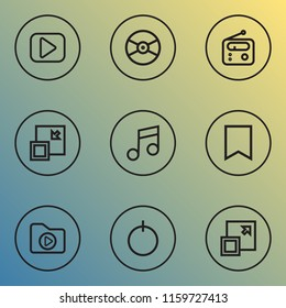 Music icons line style set with minimize, vinyl, dossier and other musical note elements. Isolated vector illustration music icons.