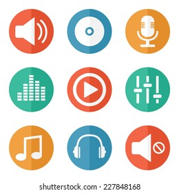 Music Icons On Colored Buttons - Vector Illustration