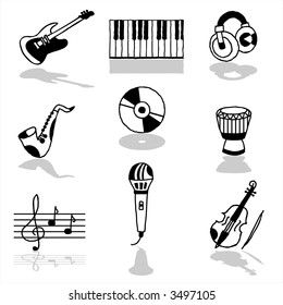Music icons - others of same series : http://www.shutterstock.com/lightboxes.mhtml?lightbox_id=498997