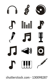 music icons over white background. vector illustration