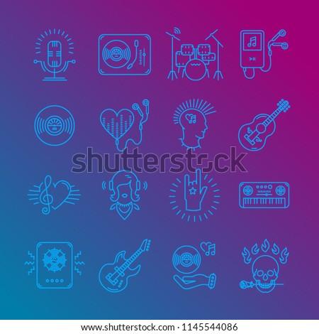 Music Icons Rock Music Symbols Monochrome Stock Vector Royalty Free