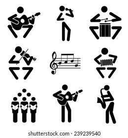 Music icons. Set of black illustrations of musical notes and musicians. Vector illustration.
