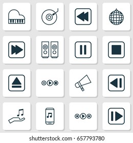 Music Icons Set. Collection Of Audio Mobile, Bullhorn, Following Song And Other Elements. Also Includes Symbols Such As Audio, Sound, Back.