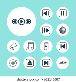 Music Icons Set. Collection Of Audio Mobile, Last Song, Skip Song And Other Elements. Also Includes Symbols Such As Forward, Previous, Note.