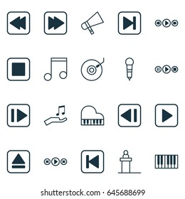 Music Icons Set. Collection Of Extract Device, Piano, Bullhorn And Other Elements. Also Includes Symbols Such As Dj, Play, Back.
