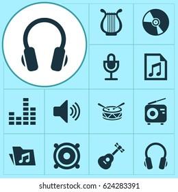 Music Icons Set. Collection Of Lyre, Mike, Dossier And Other Elements. Also Includes Symbols Such As Controlling, Lyre, Instrument.