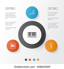 Music Icons Set. Collection Of Microphone, Note Donate, Piano And Other Elements. Also Includes Symbols Such As Audio, Music, Sell.