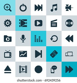 Music Icons Set. Collection Of Movie, Karaoke, Devices And Other Elements. Also Includes Symbols Such As Audio, In, Playlist.