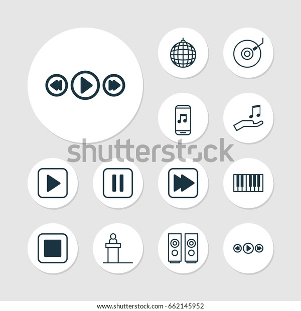 Music Icons Set Collection Mute Song Stock Vector (Royalty