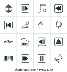 Music Icons Set. Collection Of Octave, Following Song, Following Music And Other Elements. Also Includes Symbols Such As Note, Piano, Back.
