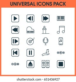 Music Icons Set. Collection Of Rewind Back, Note Donate, Extract Device And Other Elements. Also Includes Symbols Such As Previous, Backward, Speakers.