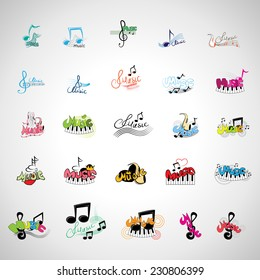 Music Icons Set - Isolated On Gray Background - Vector Illustration, Graphic Design Editable For Your Design