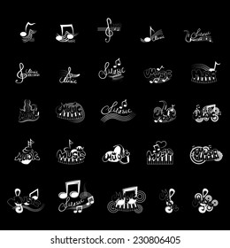 Music Icons Set - Isolated On Black Background - Vector Illustration, Graphic Design Editable For Your Design