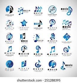 Music Icons Set - Isolated On Gray Background - Vector Illustration, Graphic Design, Editable For Your Design