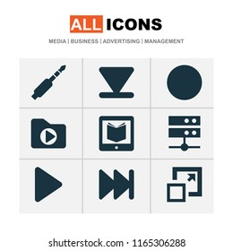 Music icons set with media server, arrow down, dossier and other e-reader elements. Isolated vector illustration music icons.