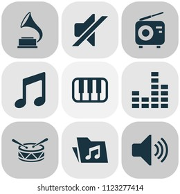 Music icons set with mixer, piano, drum and other dossier elements. Isolated vector illustration music icons.