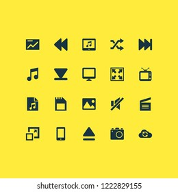 Music icons set with photo apparatus, sd card, shuffle and other maximize elements. Isolated vector illustration music icons.