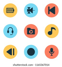 Music icons set with satellite, dossier, record and other quaver elements. Isolated vector illustration music icons.