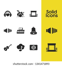 Music icons set with ukulele, low volume and pause button elements. Set of music icons and octave concept. Editable vector elements for logo app UI design.