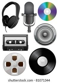Music icons set. Vector illustration.