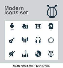 Music icons set with vinyl, mixer, guitar and other mike elements. Isolated vector illustration music icons.