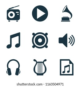 Music icons set with volume, playlist, radio and other megaphone elements. Isolated vector illustration music icons.