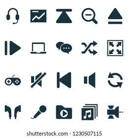 Music icons set with widen, upward, sound off and other magnifying elements. Isolated vector illustration music icons.