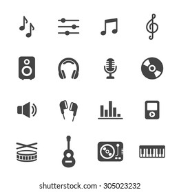 Music icons. Simple flat vector icons set on white background